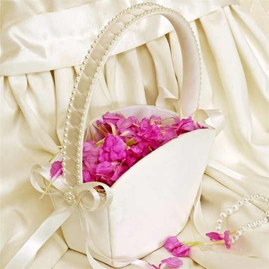 Shower Basket Wedding Accessories Champagne Rose Square Basket Pearl ...