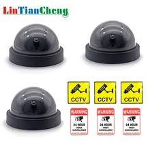 LINTIANCHENG 3pcs Dummy Fake Camera Dome Indoor Security Simulation With Flashing LED CCTV Outdoor Street surveillance