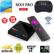 RK3328 MX9 Pro mini Android 7.1 TV Box Quad Core 4 K H.265 VP9 HDR10 USB3.0 1G/8G Mini PC 2.4G WiFi LAN HD Media Player