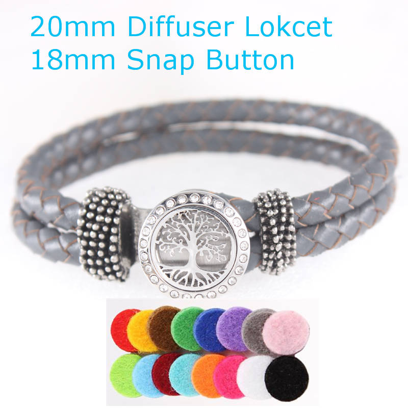 Gray Leather Bracelet Crystals The Tree Of Life Aroma Essential Oil Diffuser Locket Snap Button Bracelet Perfume Replacement