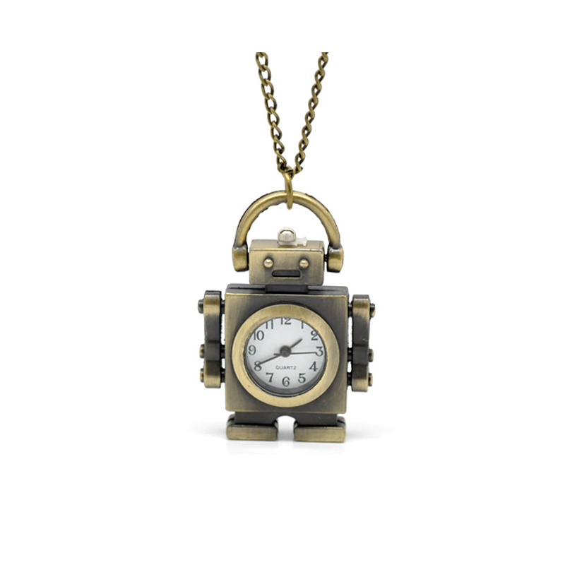 Systematic Mechanical Robot Pattern Pocket Watches Creative Bronze Tone Necklace Chain Quartz Clock For Ladies Women Mens 85cm Dependable Performance 33-1/2