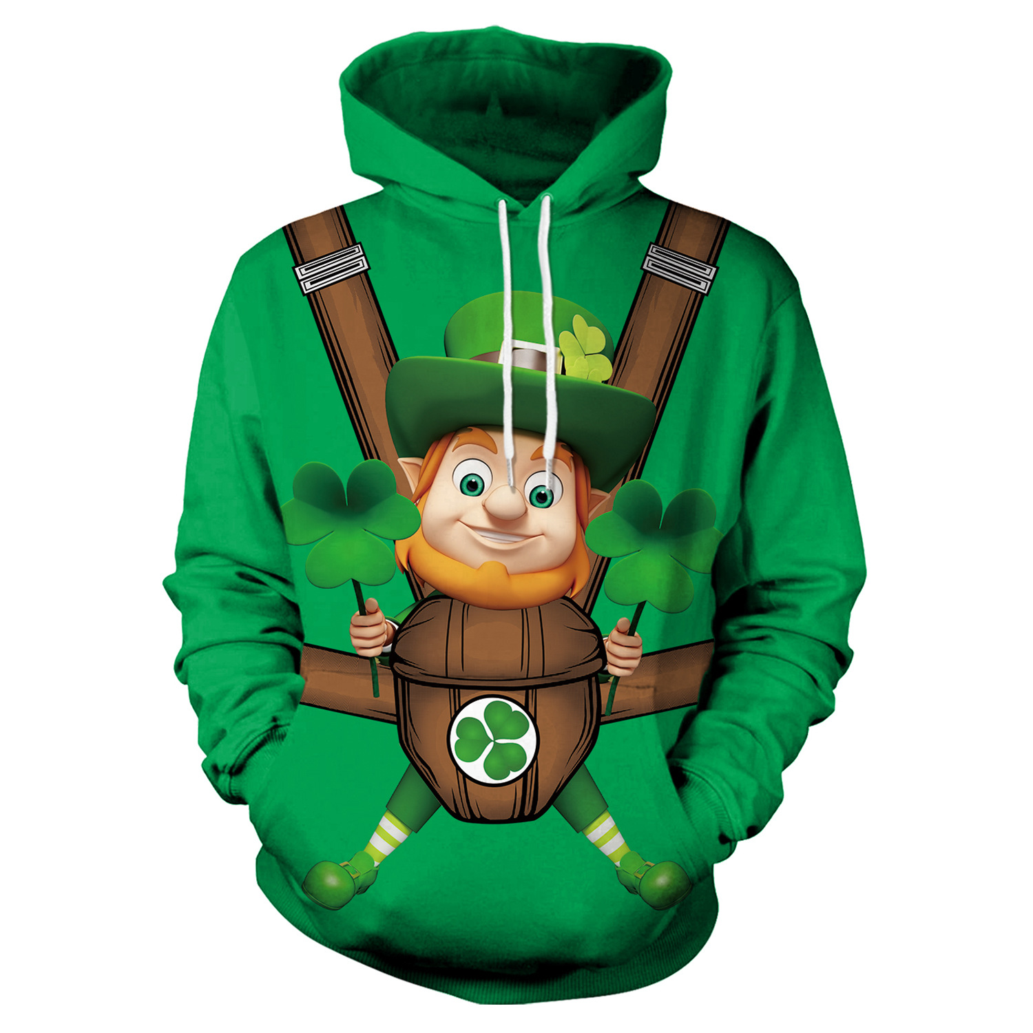 St Patrick's Day Green Hat Leprechauns Print Hoodies Men Hoodie with Hat Round Neck Loose Sweatshirt Pullover Streetwear