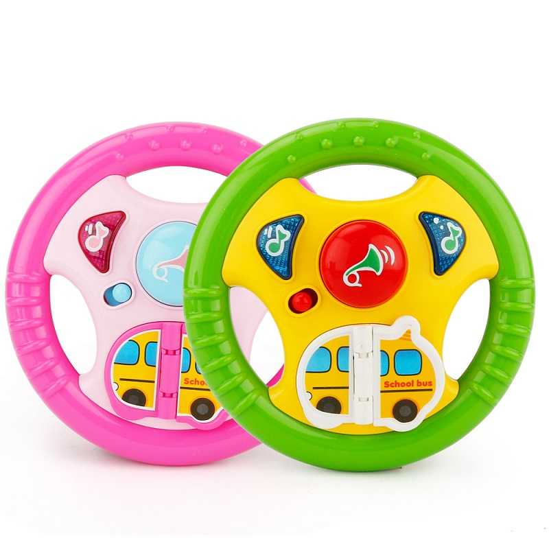 Creative Simulation Toy Driving Steering Wheel Equipped with Lights Music Various Driving Sounds Toys for Baby Rattles Gift
