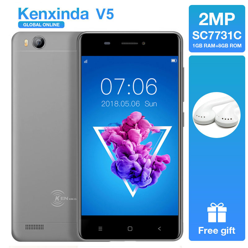 "Kenxinda V5 GRAY/PINK/GOLD Color 4.0"" Mobile Phone 3G Android 7.0 1GB Ram 8GB Rom Quad Core Dual Sim Cards Smartphones+Earphone"