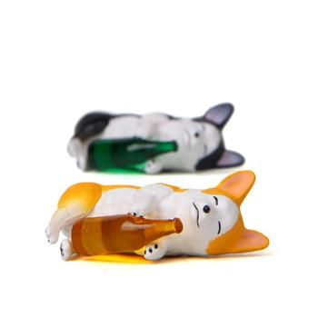 1 Pc Cute Creative wine bottle Corgi Dog Action Figure Toy Cartoon Animal dog Model PVC Ornament Doll Toys gift