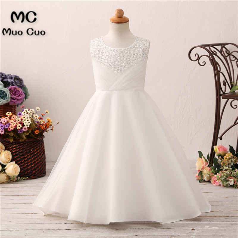 2018 Lovely Beaded Infant   Flower     Girl     Dresses   Kids Evening Gowns For Wedding First Communion   Dresses   vestido comunion