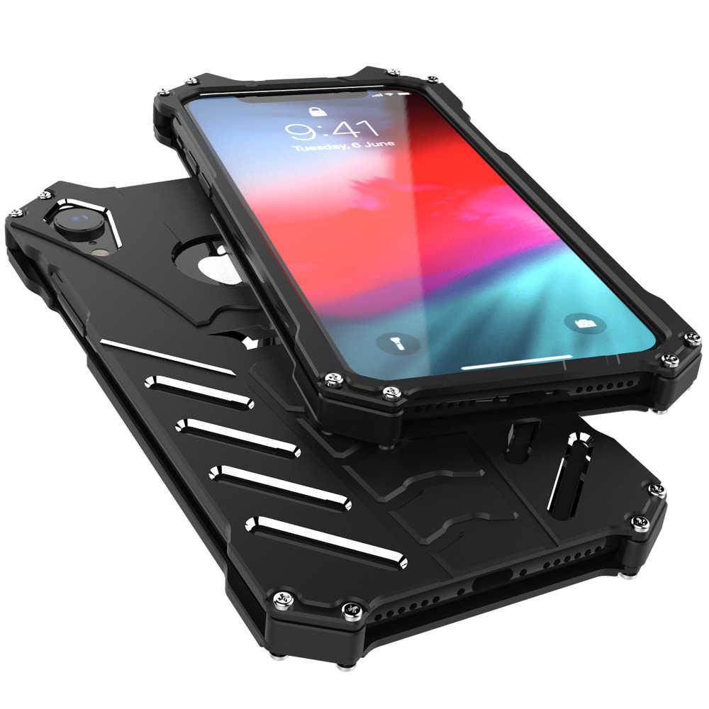 غلاف واقي مضاد للصدمات حقيبة لهاتف أي فون 6 6S 7 8 Plus 5 5C 5s SE حافظة ظهر معدنية صلبة مع حامل حقيبة لهاتف أي فون X XS Max XR