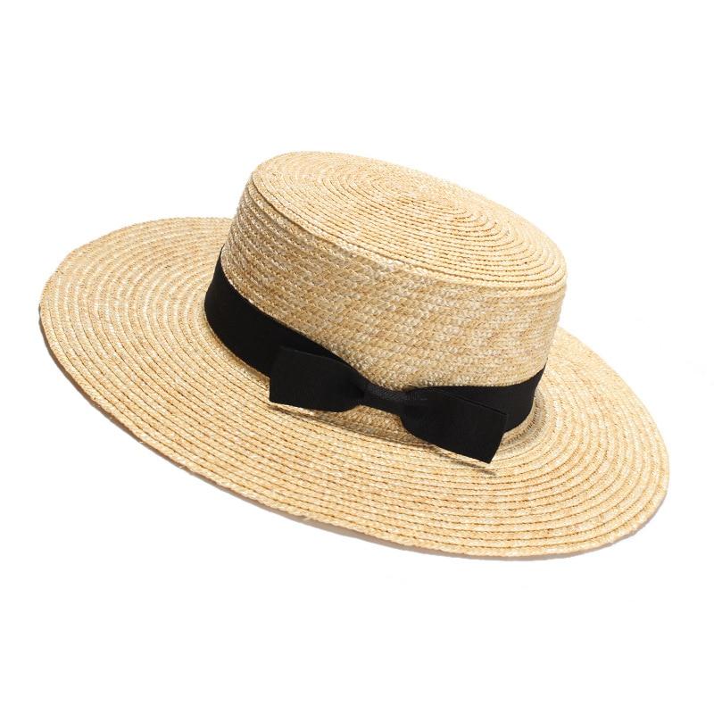 ROSELUOSI Women Boater Hats 2018 New Summer Sun Straw Hat Unisex Flat Top  Wide Brim Panama 85fde3b4d3ba