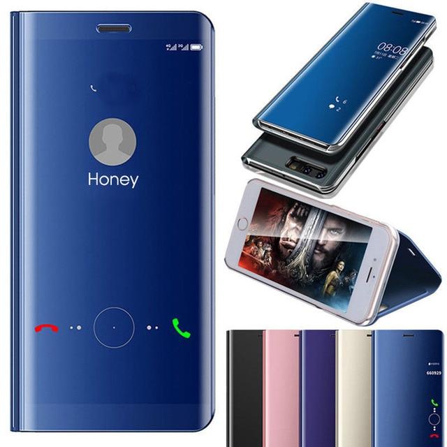 wholesale dealer 19fed 30211 US $2.96 13% OFF|Mirror View For Xiaomi Redmi Note 5 6 Pro Mi A1 A2 8 S2 5  Plus Case Leather Flip Cover Xiomi Redmi Note 4 4x Case Mi 8 lite 7 9-in ...