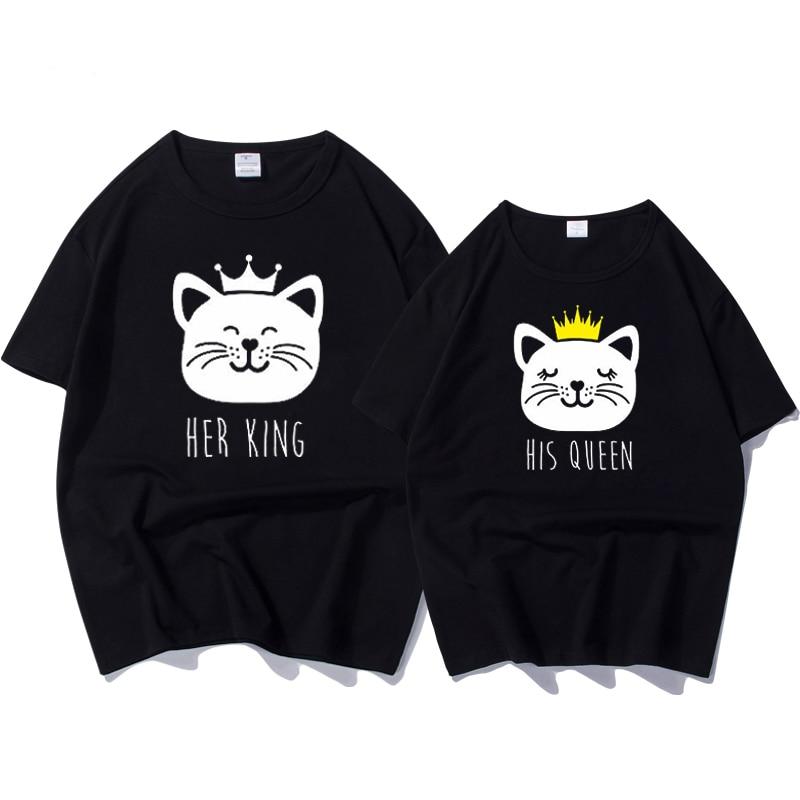 New T-shirt Her King Queen Letter Print Short Sleeve T-Shirt  Women New Family Top Tee Couple Shirt Femme Loose O-Neck T Shirt