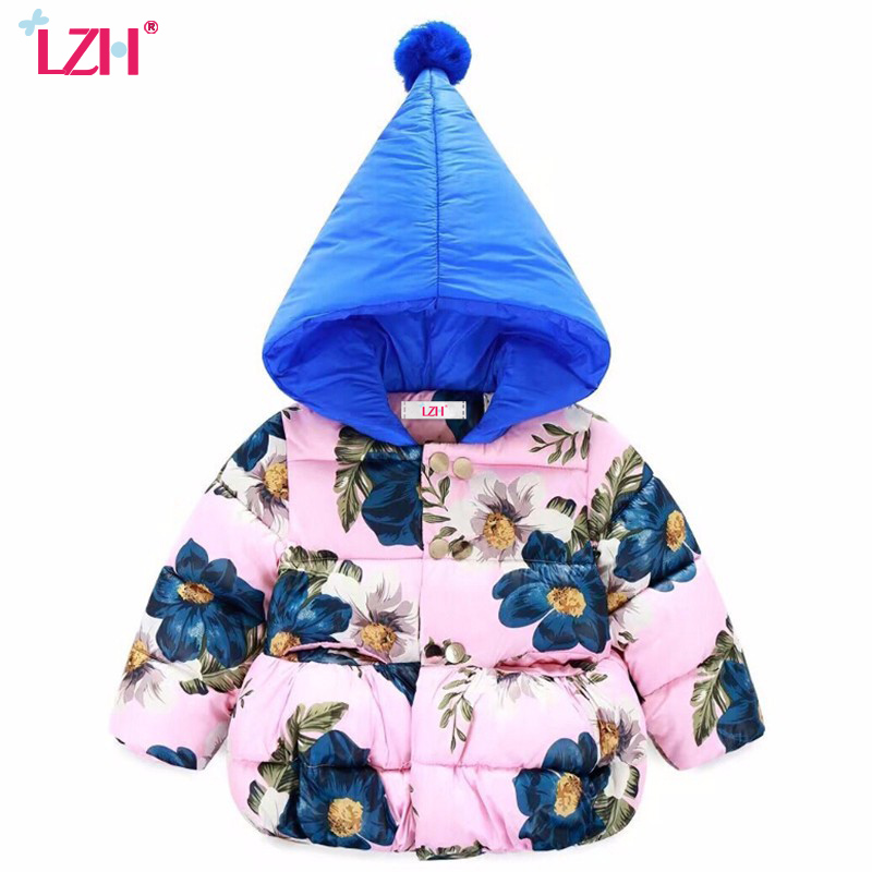 LZH Cute Printing Girls Jacket Kids Warm Outerwear Thicken Cotton Coat Baby Girl Winter Coat Boys