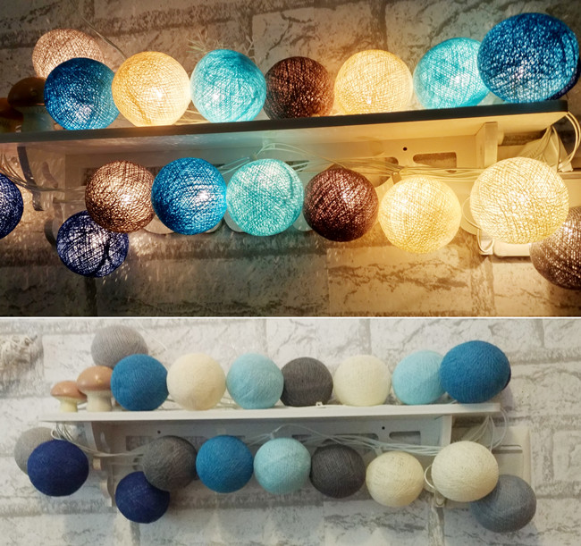 Navy blue light blue Gray Tone mixed Handmade cotton ball String Fairy lights Party Patio ...