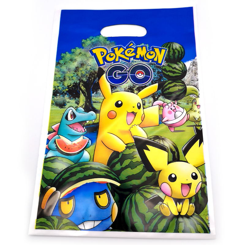 20pcs Happy Baby Shower Party Kids Boys Favors Pokemon Go Theme Plastic Loot Bags Birthday Decorate Pikachu Design Gifts Bags