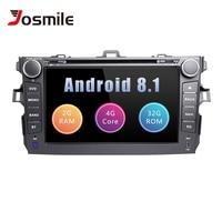 Josmile 2 Din Android 8,1 Автомобильный DVD плеер для Защитные чехлы для сидений, сшитые специально для Toyota Corolla 2007 2008 2009 2010 2011Car радио stereogps навигации Quad