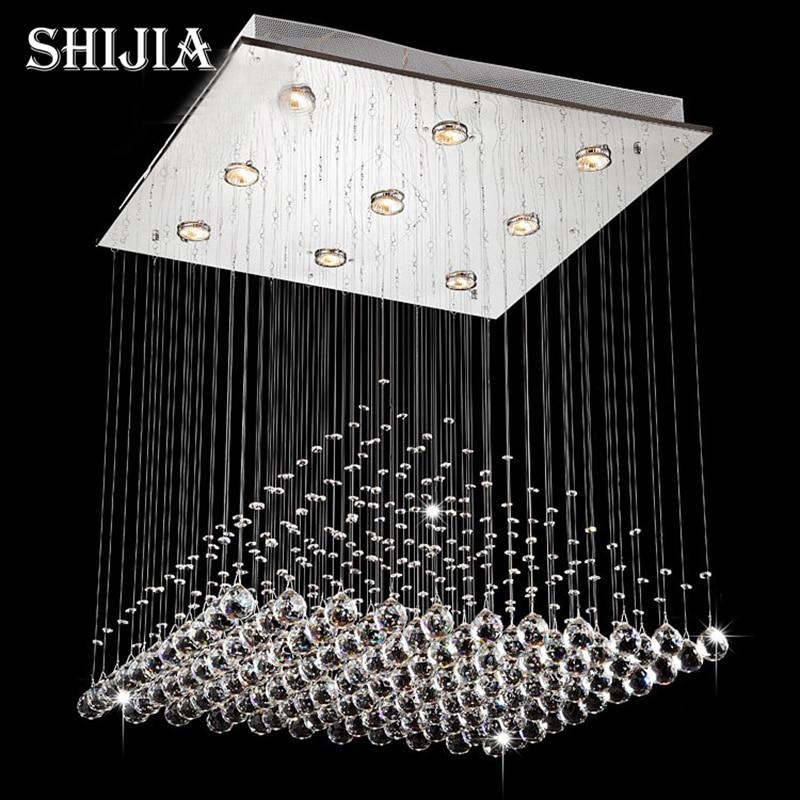 Modern Wave K9 Crystal Hanging Wire Ball Square Pendant Lamp Lighting Fixture Rain Drop Curtain Glass