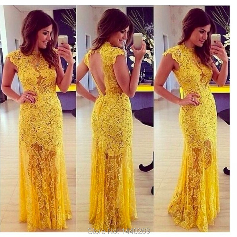 Unique Design Tops Yellow Lace Long Prom Gown High Neck Evening Dress For Wedding Party Custom Made