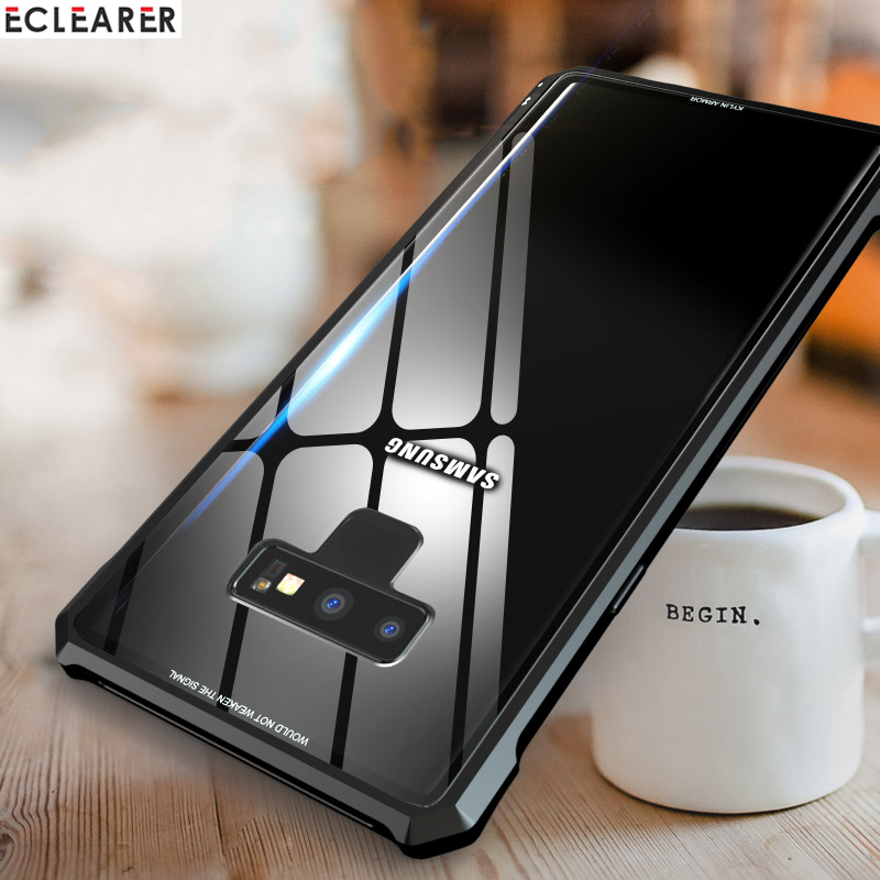 For Samsung Note 9 Case Luxury Diamond Shape Aluminum Metal Case For Samsung Galaxy Note 9 Cover Tempered Glass Back Phone Cases iPhone XS