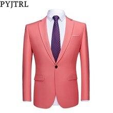 PYJTRL Chaqueta informal ajustada para hombre, chaqueta masculina de calidad, de colores, para negocios, color verde, Morado, Rosa, champán, amarillo y negro, traje de boda y graduación