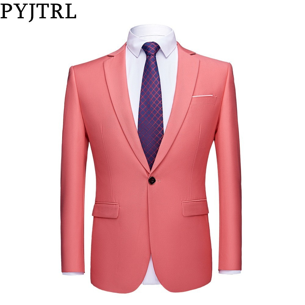 PYJTRL Mens Quality Colorful Business Slim Fit Casual Blazer Green Purple Pink Champagne Yellow Black Wedding Prom Suit Jacket