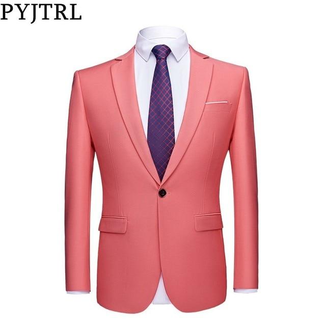 PYJTRL мужской качественный цветной деловой приталенный Повседневный Блейзер зеленый фиолетовый розовый цвет шампанского желтый черный цвет