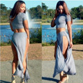 2 piece set women 2016 bandage two piece crop top and skirt set outfit casual side split summer sexy club party long dress qz22