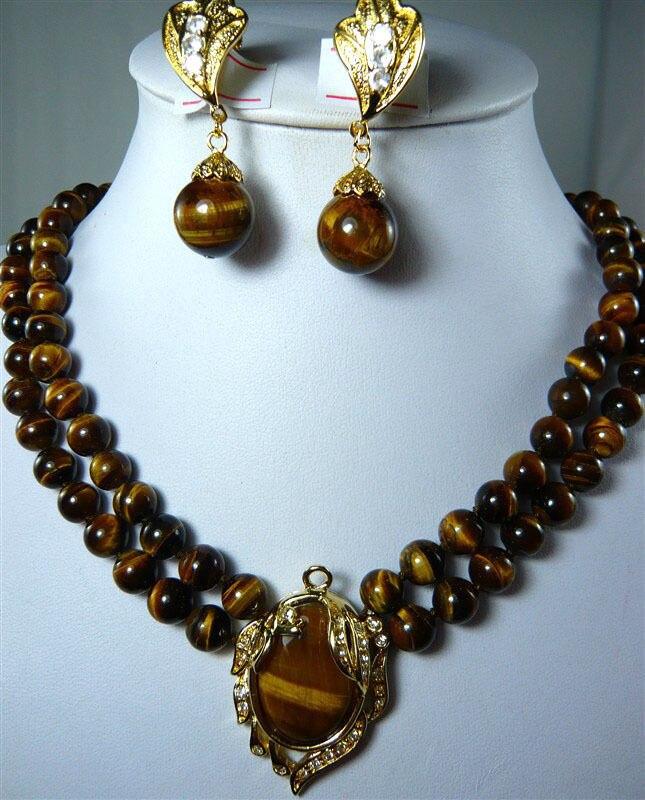 Jolis bijoux de mariage pour femmes 2 couleurs! collier en pierre naturelle à œil de tigre de 2 rangées 8mm + boucles d'oreilles à clip pendentif 18KGP