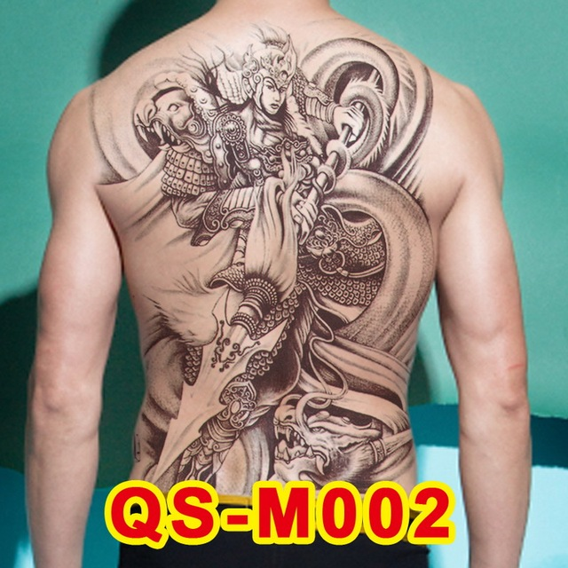 264bf0482e1f7 1pc new 48*34cm full back large tattoo sticker 20design black Chinese  warrior Dragon temporary