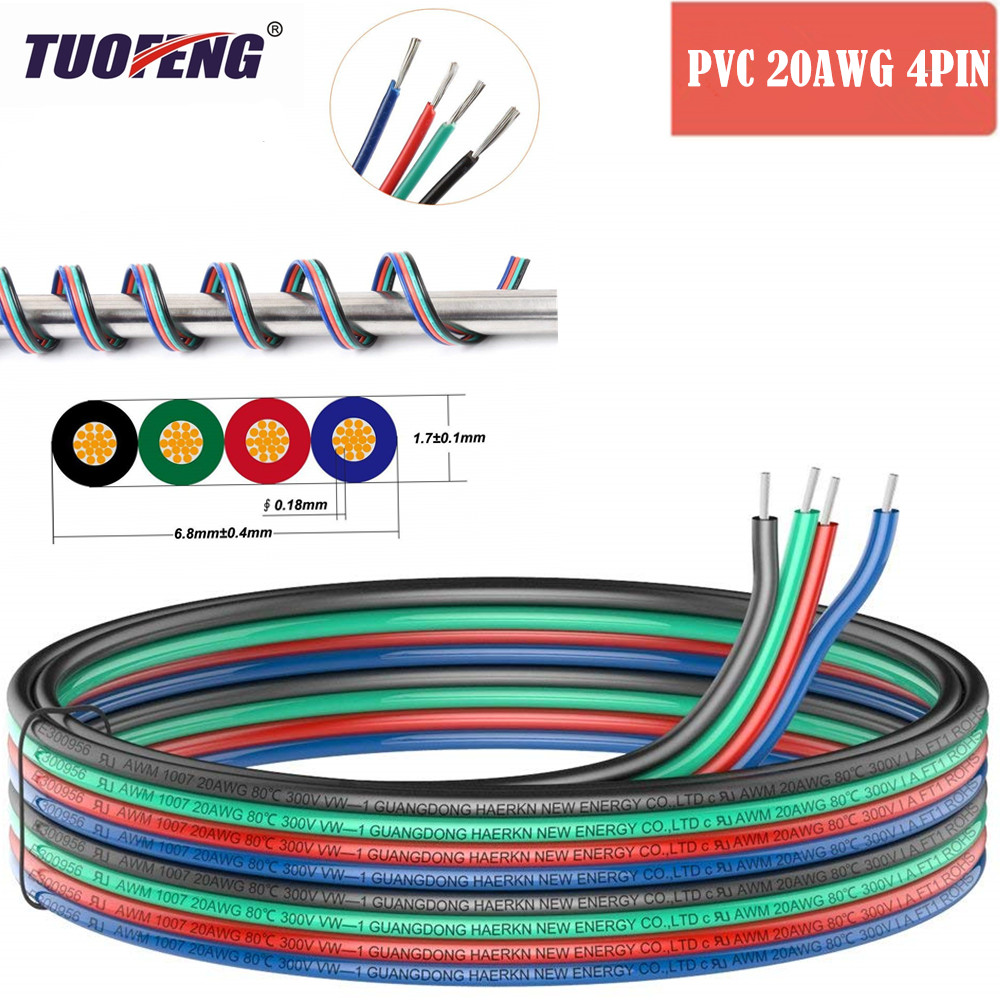 4pin Extension Cable Wire Cord <font><b>20awg</b></font> Electrical Wire Cable 4 Conductor Parallel Wire line Flexible <font><b>UL1007</b></font> Strands Tinned copper image