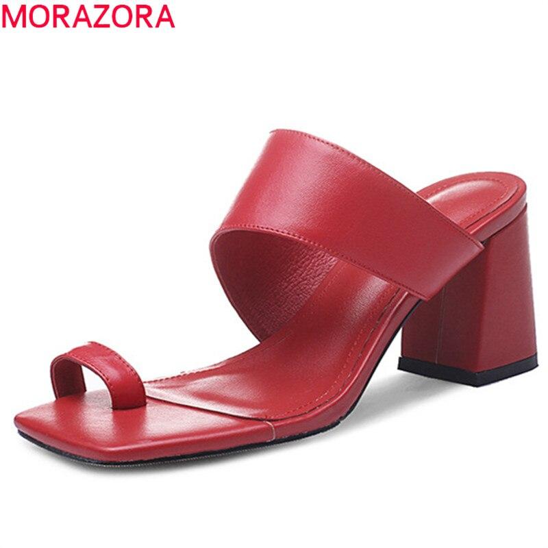 MORAZORA 2019 newest genuine leather shoes women sandals solid colors summer flip flops high heels sandals