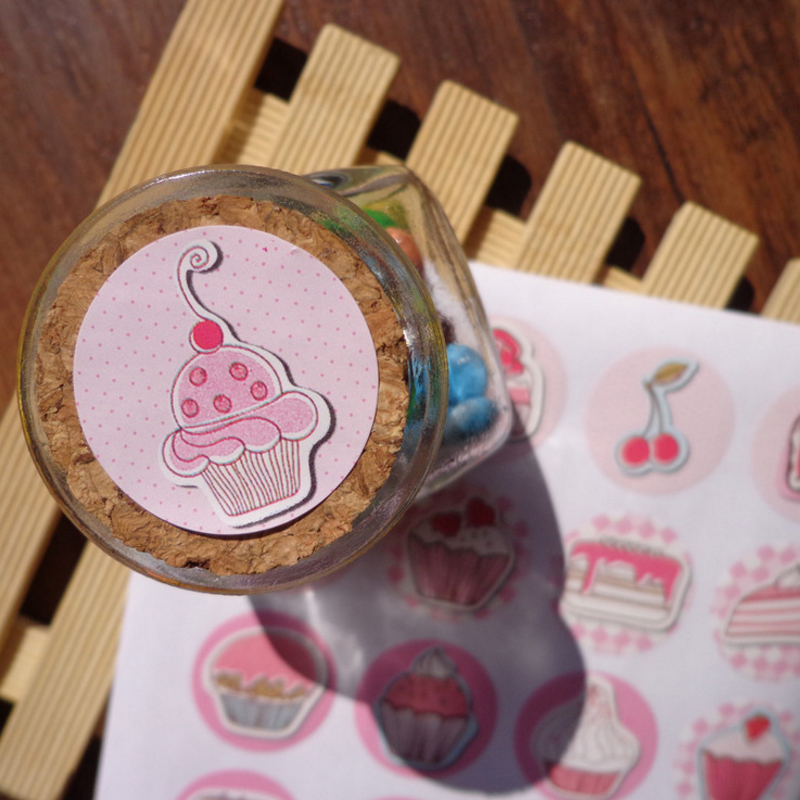 Купить с кэшбэком 160pcs/lot lovely sweet cake pattern round paper adhesive seal sticker gifts sealing sticky DIY decorative label handmade
