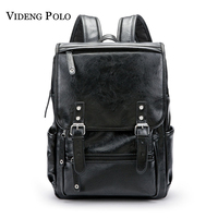 VIDENG POLO New Vintage Style Leather Men 14 15 inches Large Capacity Backpack Male Casual Boys School Shoulder Bags Mochila