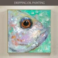 Maler Team Hand bemalt Hohe Qualität Lustige Fische Ölgemälde Moderne Abstrakte Fischkopf Ölgemälde für Küche Dekoration