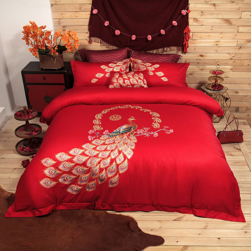 Red Blue Chinese Wedding Embroidery <font><b>Luxury</b></font> <font><b>Egyptian</b></font> <font><b>Cotton</b></font> <font><b>Bedding</b></font> <font><b>set</b></font> 4Pcs Queen King size Duvet cover Bed sheet <font><b>set</b></font> Gifts 37 image