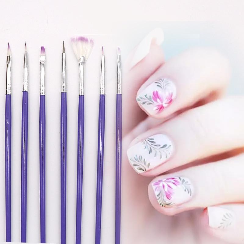 7Pcs/Set Nail Art Brushes Kit UV Gel Nail Polish Drawing Painting ...