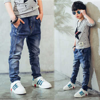 Boy\'s jeans, Children\'s clothing boys jeans spring and autumn splash-ink children pants 3 4 5 6 7 8 9 10 11 12 13 14 years old