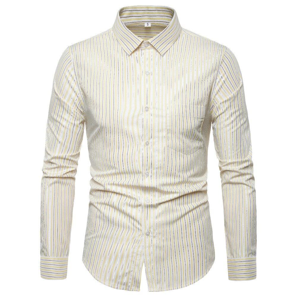 New Arrival Free Shipping 2019 Men Slim Stripes Print Long Sleeve Shirts Turn down Collar Casual Shirt Men Single Breasted Shirt in Casual Shirts from Men 39 s Clothing