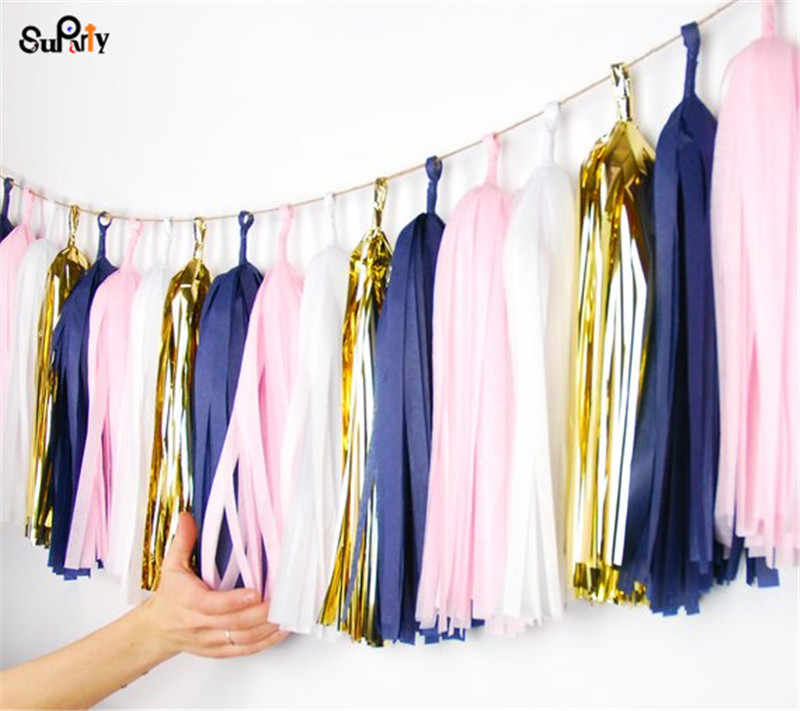 Pink and Navy Tassel Garland Pink Nautical Baby Shower Decorations Girl Nautical Decorations