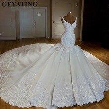 Luksusowy kaplica pociąg arabski syrenka suknie ślubne 2020 koronkowe aplikacje suknia ślubna wyszywana kryształkami dubaj suknie ślubne Casamento