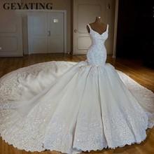 Luxury Chapel Train Arabic Mermaid Wedding Dresses 2020 Lace Appliques Bridal Dress Beaded Crystal Dubai Wedding Gowns Casamento