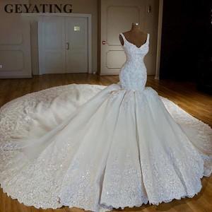 Image 1 - Luxury Chapel Train Arabic Mermaid Wedding Dresses 2020 Lace Appliques Bridal Dress Beaded Crystal Dubai Wedding Gowns Casamento