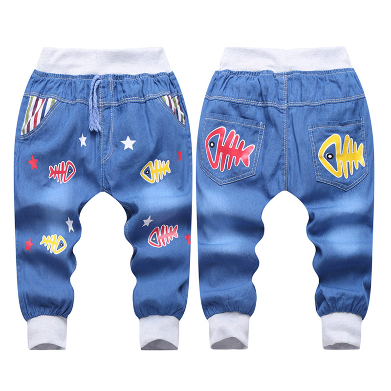 2017 Hot Sale Boy Girl Summer Denim Jeans Children Comfortable Pants Baby Elastic Waist Jeans Pants Cartoon Printing CY142(9)