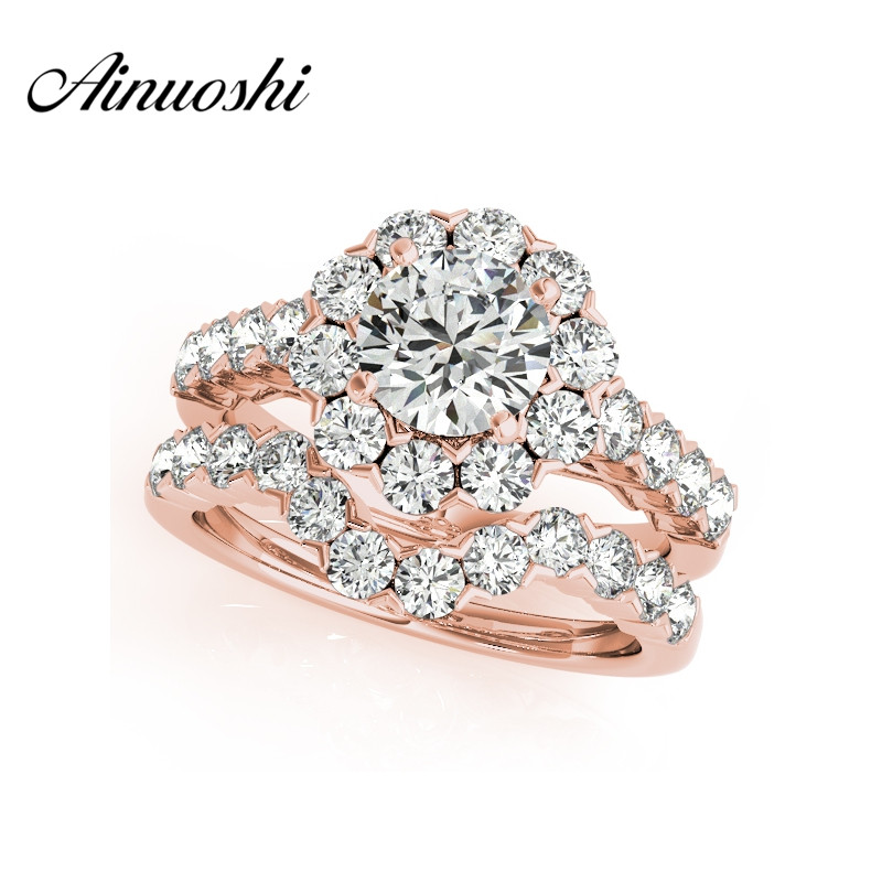 AINUOSHI 925 Sterling Silver Women Rose Gold Color 4 Prongs Wedding Bridal Ring Sets Sona 1 Carat Round Cut Engagement Ring Sets 0 5ct 3 prongs 925 sterling silver ring sona diamant ring female heart gold plated ring love letter engrave ring yd