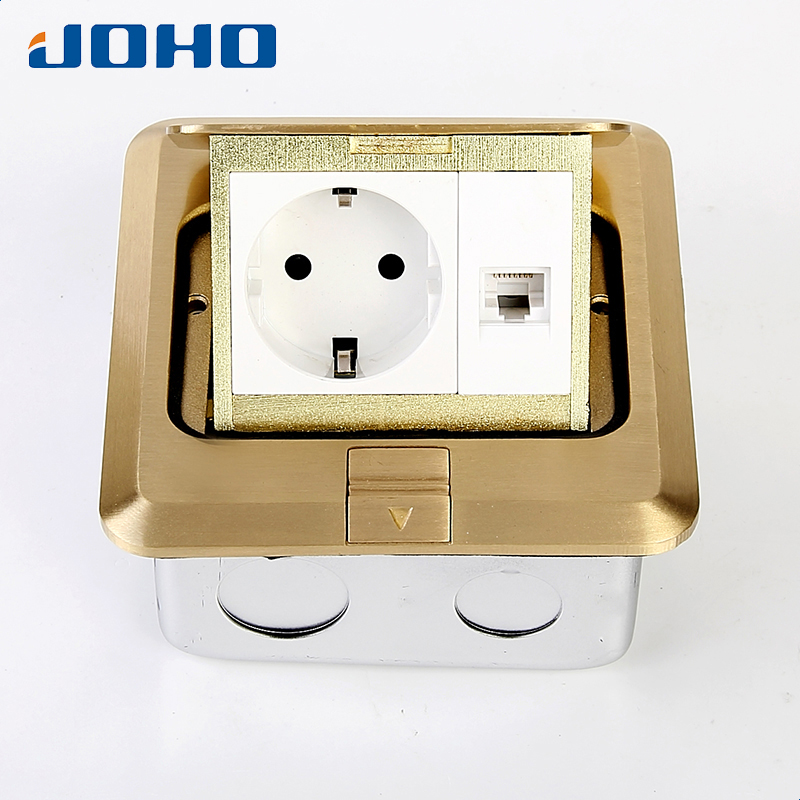 цена на JOHO Fast Pop Up Standard Grounding Floor Socket Outlet Box Power Outlet with 16A European Socket and RJ45 Data General-Purpose