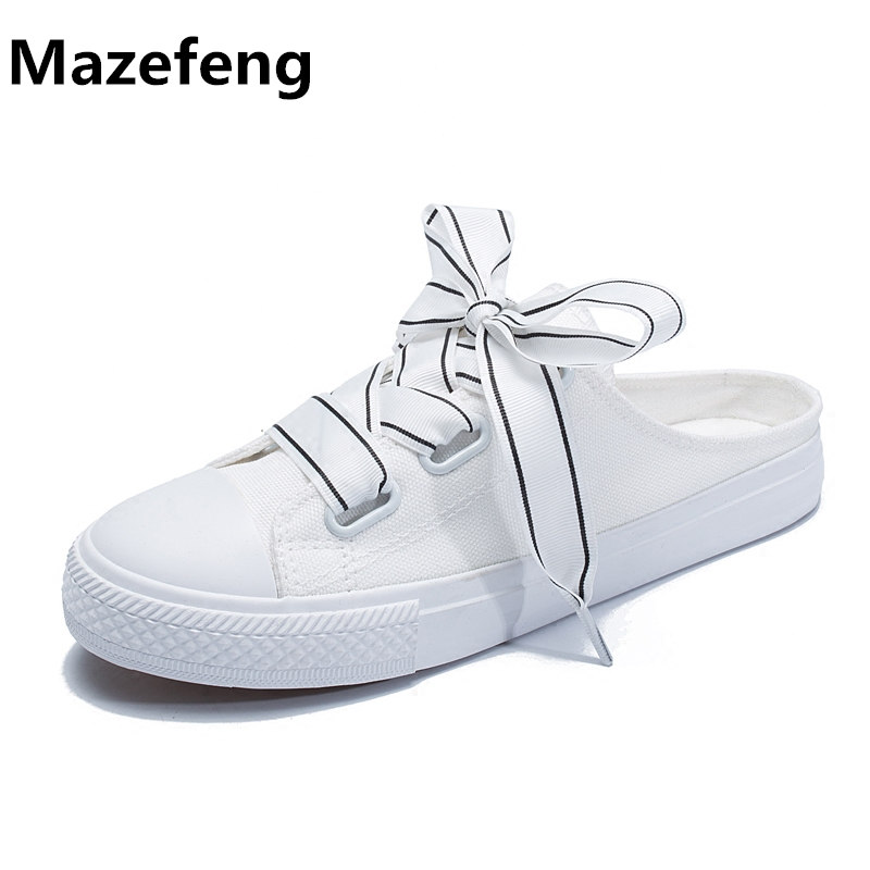 01b54380edb Ins Well-Known Canvas Shoes Woman Half Dragged White Shoes Summer Backless Casual  Shoes Woman Zapatos Mujer