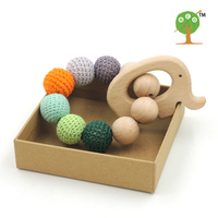 Drop shipping 2017 new nursing toy green shade grey crochet beads 20mm good quality beech wooden elephant teether charm ET38