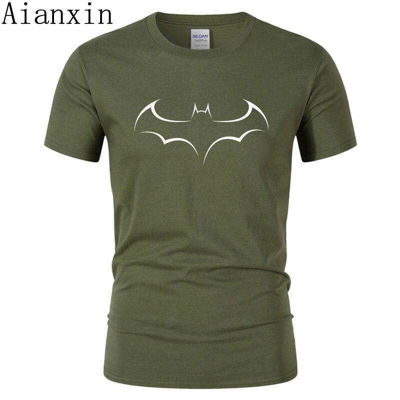 AIANXIN New 100% COTTON Men T Shirt Casual Short Sleeve T-shirt For Men Batman Print Men T Shirt O-Neck Mens Tee Shirt