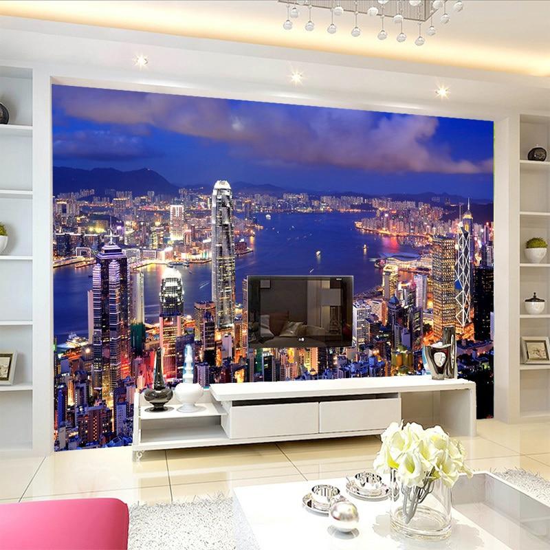 beibehang High Quality Modern 3D City Night View Custom Photo Wallpaper Mural Living Room TV Background Wallpaper For Bedroom beibehang custom high level wallpaper 3d