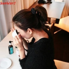 Trendy Style New Fashion Women Korean Black Beads Hair Band Rope Scrunchie Ponytail Holder Hair Accessories Gift 1PC