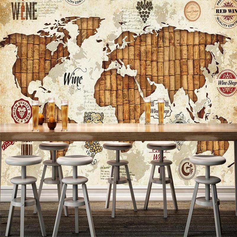 Купить с кэшбэком wellyu papel de parede Retro World Map Red Wine Cork Cork Restaurant Bar Wall Custom Large Mural Green Silk Wallpaper