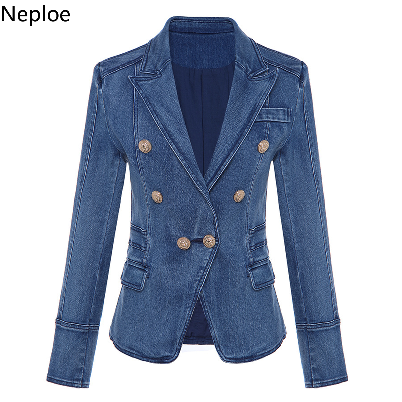Nepole Denim Cool Girl Buttons Women Coat Modis Double Breasted Pockets Top  2020 Spring Autumn Casual Slim Waist Blazer 42715